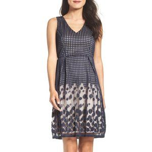 Adrianna Papell Pleated Plaid Dot Fit & Flare Dres